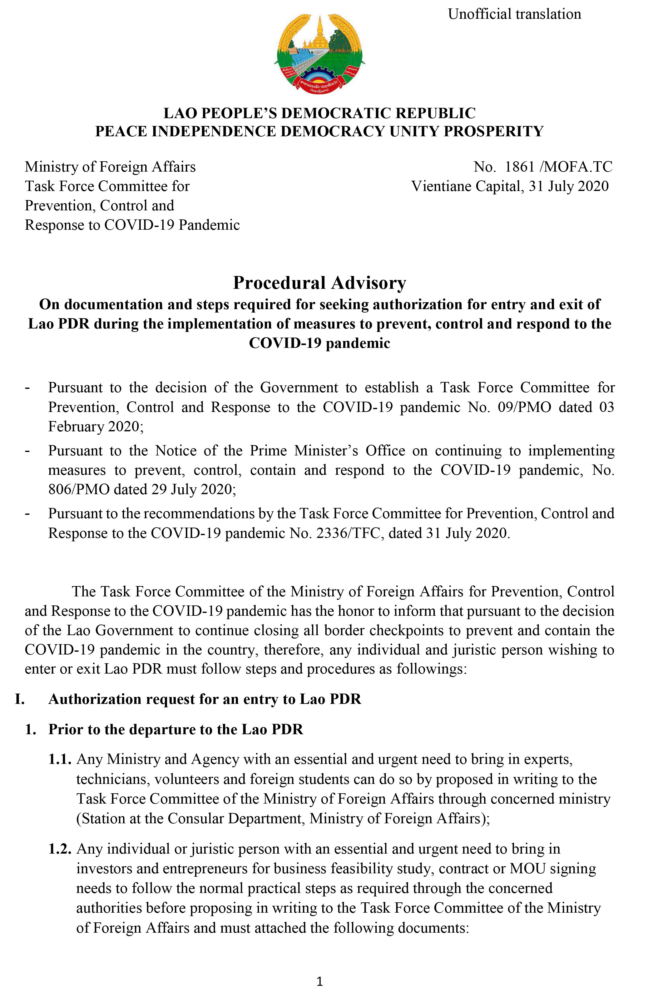 MOFA-Procedural Advisory on documentation and steps 1861-1